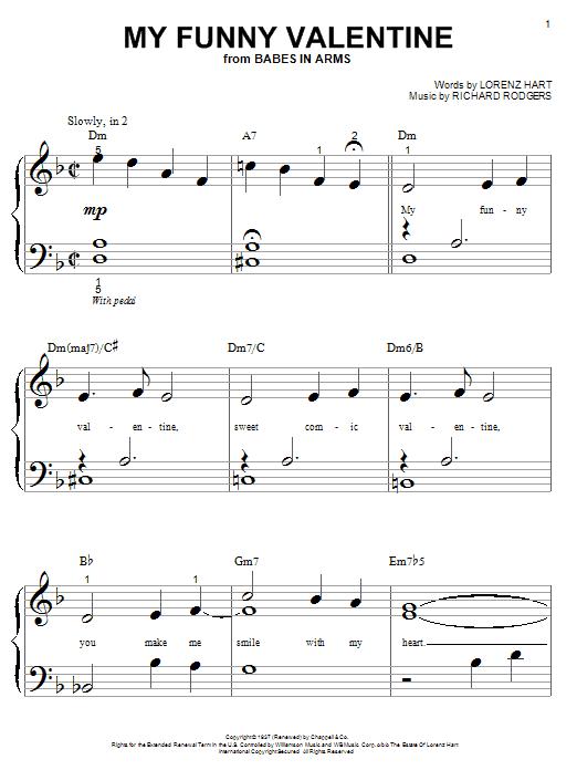 Partition piano My Funny Valentine de Rodgers & Hart - Piano Facile