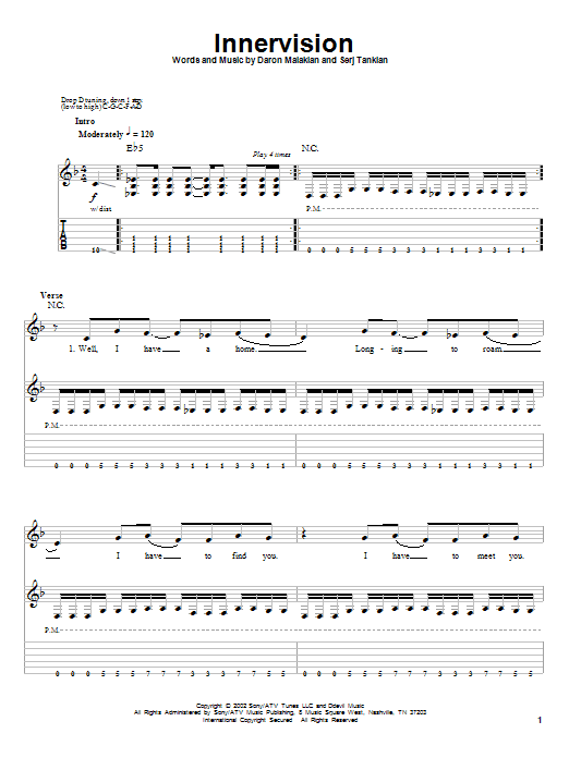 System of a down roulette guitar tab