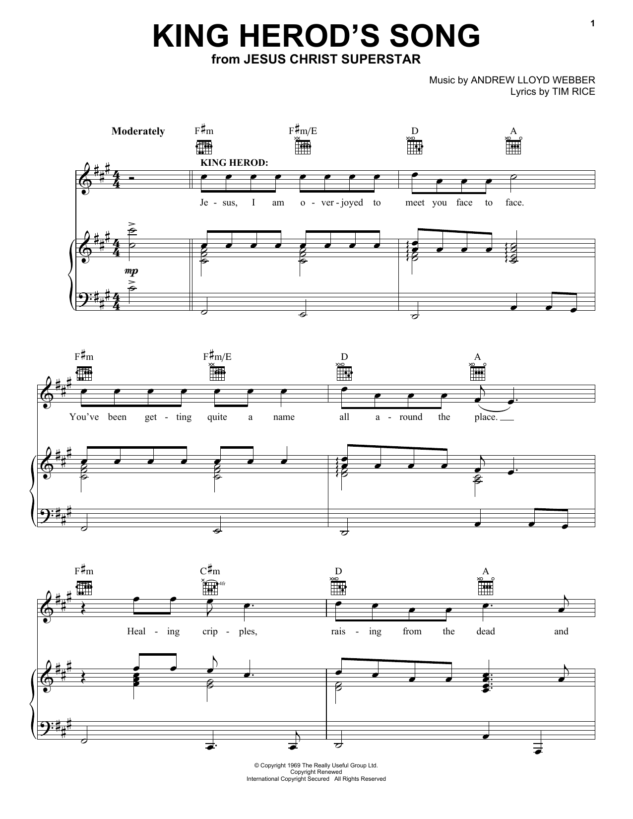 King Herod's Song sheet music for voice, piano or guitar by Tim Rice
