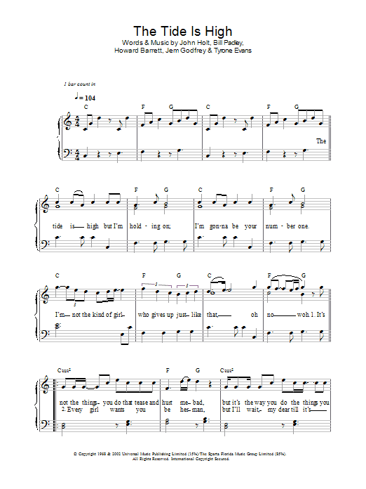 The Tide Is High (Get The Feeling) sheet music for voice, piano or guitar by Tyrone Evans