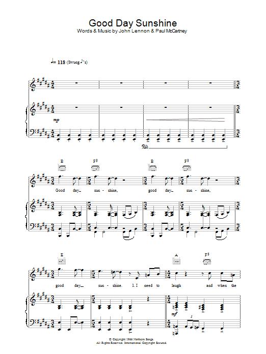 Good Day Sunshine Guitar : The beatles good day sunshine sheet music at stanton s