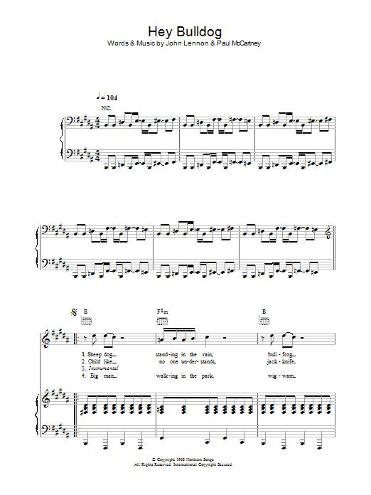 Hey Bulldog sheet music for voice, piano or guitar by Paul McCartney