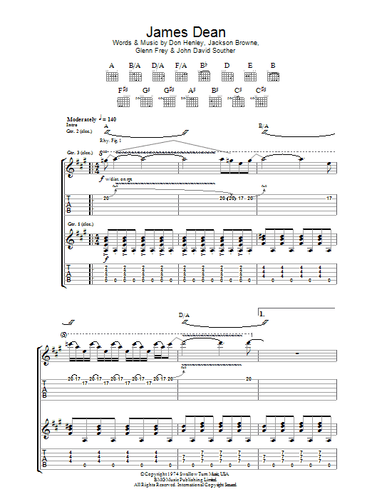 James Dean sheet music for guitar solo (tablature) by John David Souther
