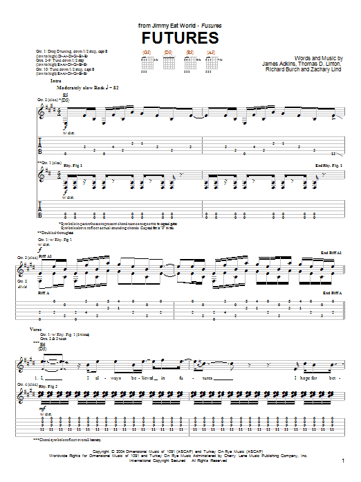 Tablature guitare Futures de Jimmy Eat World - Tablature Guitare