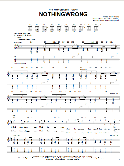 Tablature guitare Nothingwrong de Jimmy Eat World - Tablature Guitare
