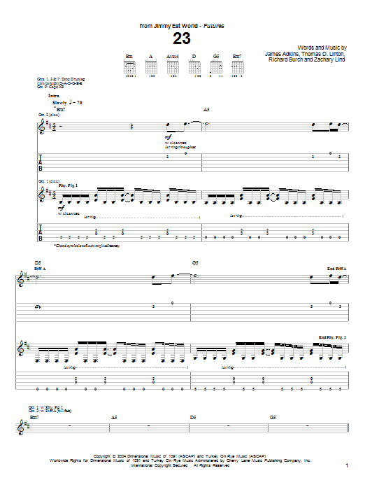 23 sheet music for guitar solo (tablature) by Zachary Lind