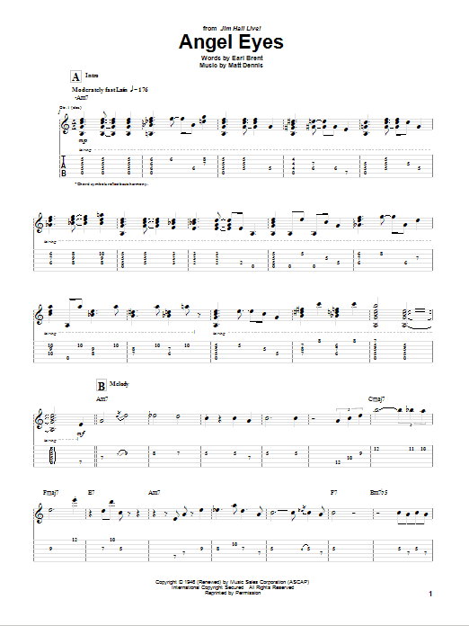 Tablature guitare Angel Eyes de Jim Hall - Tablature Guitare