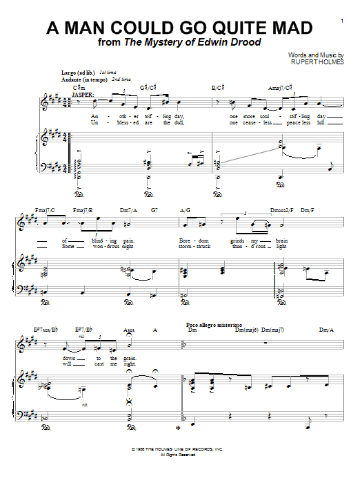 A Man Could Go Quite Mad sheet music for voice and piano by Rupert Holmes