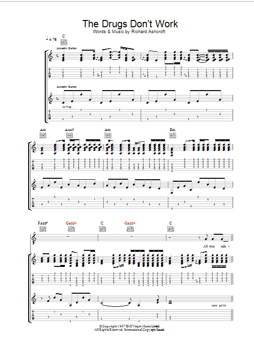 The Drugs Don't Work sheet music for guitar solo (tablature) by Richard Ashcroft