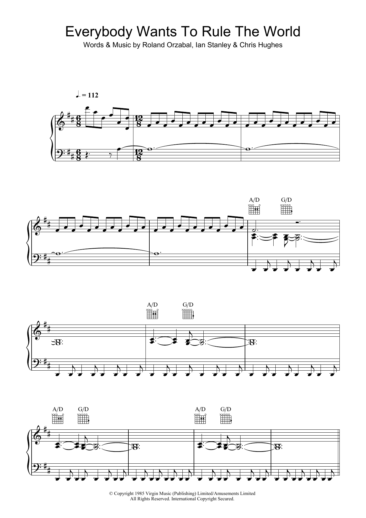 Everybody Wants To Rule The World sheet music for voice, piano or guitar by Roland Orzabal