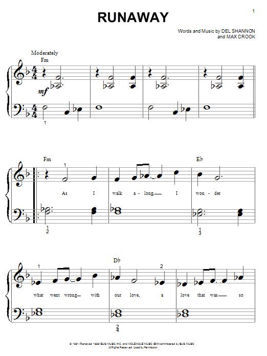 Partition piano Runaway de Del Shannon - Piano Facile