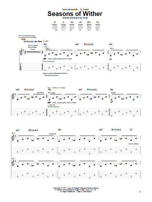 Tablature guitare Seasons Of Wither de Aerosmith - Tablature Guitare