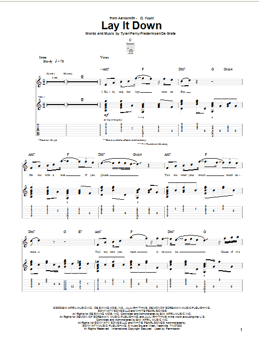 Tablature guitare Lay It Down de Aerosmith - Tablature Guitare