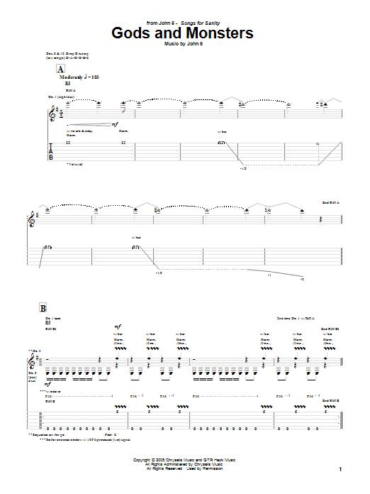 Tablature guitare Gods And Monsters de John 5 - Tablature Guitare