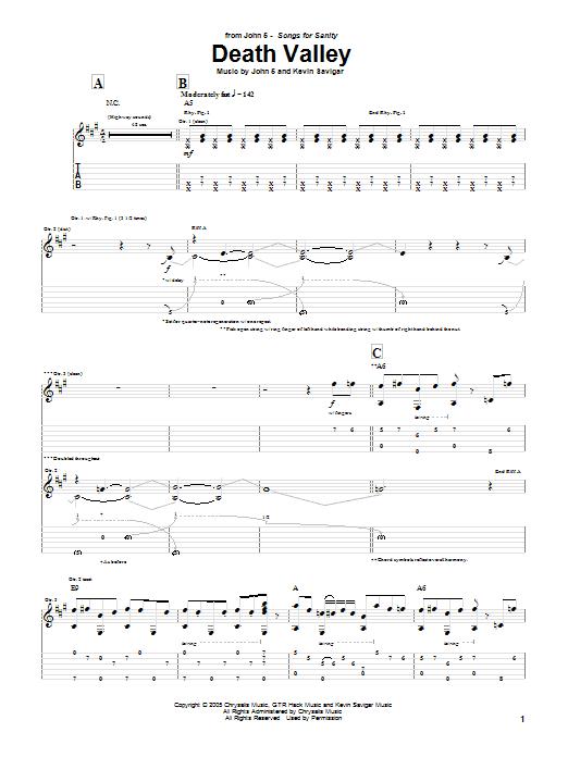 Tablature guitare Death Valley de John 5 - Tablature Guitare