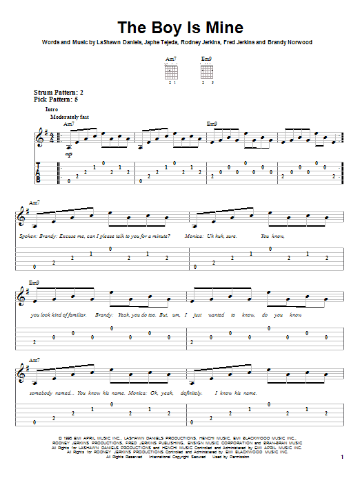 The Boy Is Mine sheet music for guitar solo (easy tablature) by Rodney Jerkins
