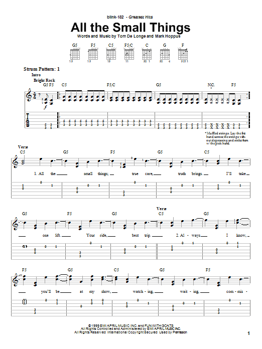 Tablature guitare All The Small Things de Blink-182 - Tablature guitare facile