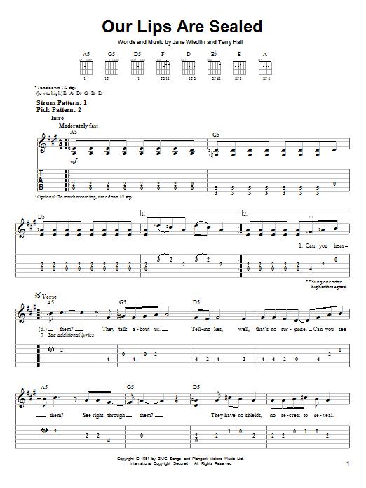 Tablature guitare Our Lips Are Sealed de The Go-Go's - Tablature guitare facile