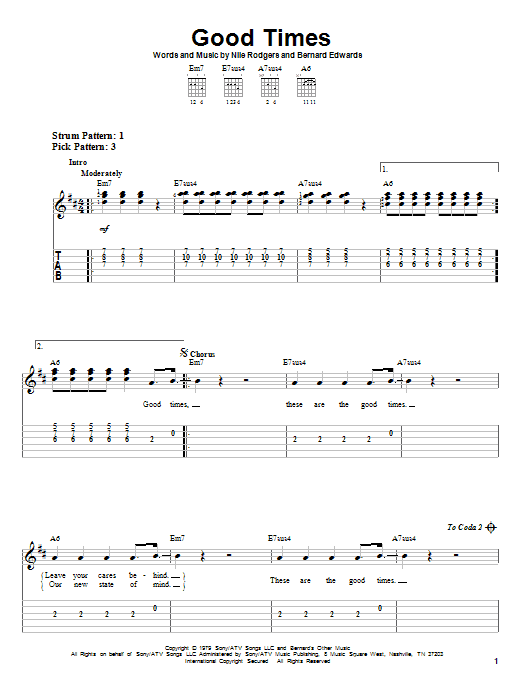 Tablature guitare Good Times de Chic - Tablature guitare facile