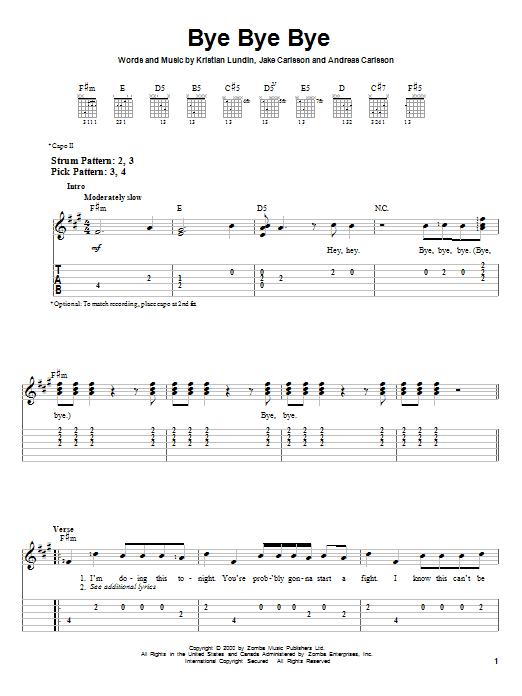 Tablature guitare Bye Bye Bye de 'N Sync - Tablature guitare facile