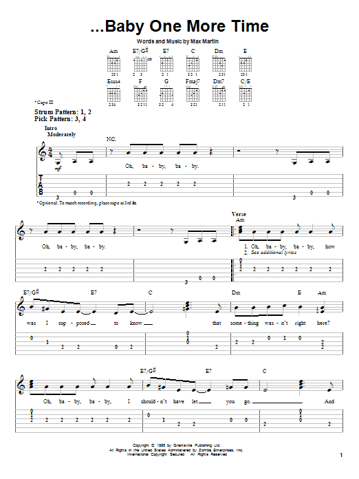 Tablature guitare ...Baby One More Time de Britney Spears - Tablature guitare facile
