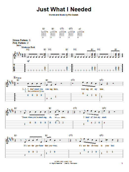 Tablature guitare Just What I Needed de The Cars - Tablature guitare facile
