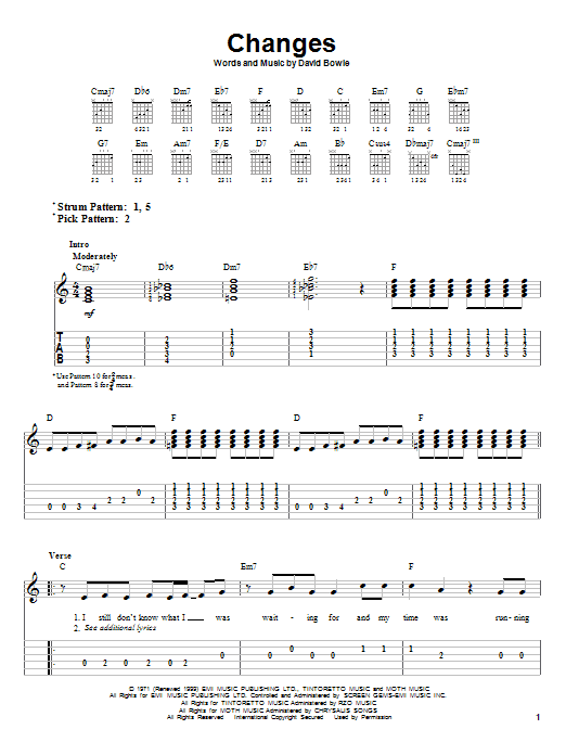 Tablature guitare Changes de David Bowie - Tablature guitare facile