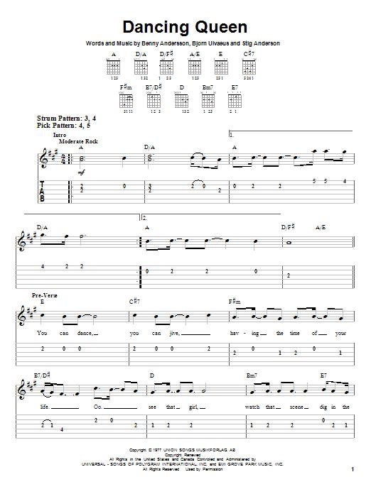 Tablature guitare Dancing Queen de ABBA - Tablature guitare facile