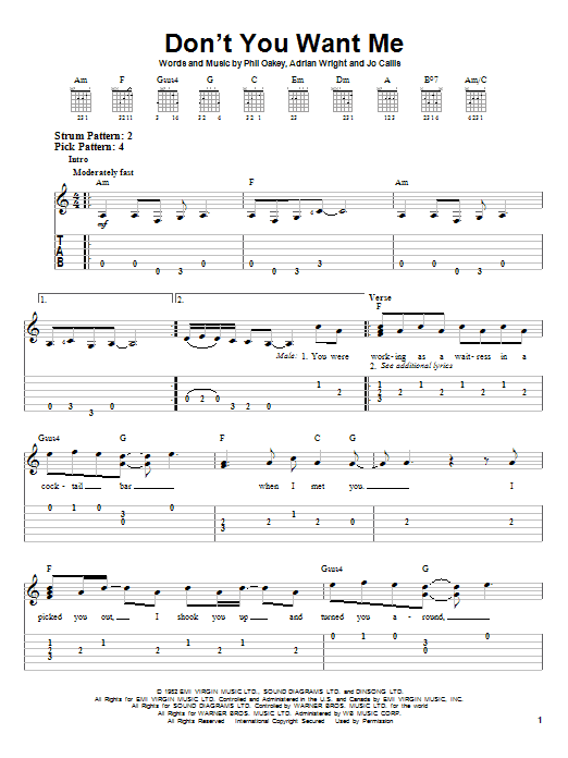 Tablature guitare Don't You Want Me de The Human League - Tablature guitare facile