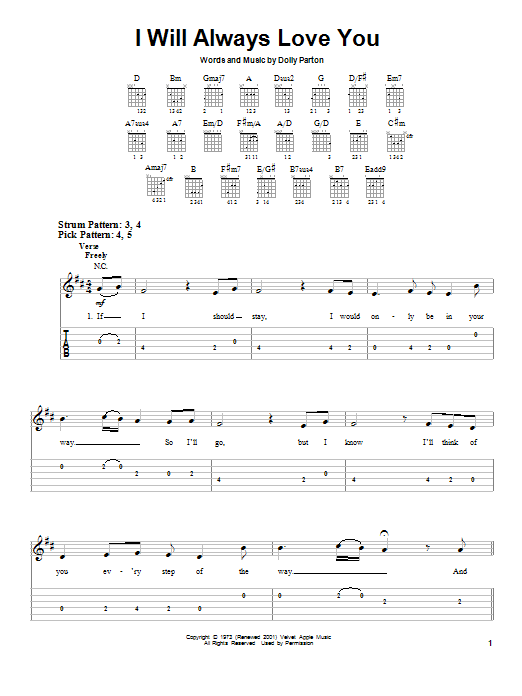 Tablature guitare I Will Always Love You de Dolly Parton - Tablature guitare facile