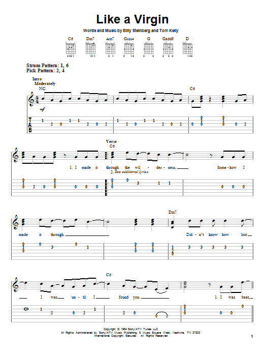 Tablature guitare Like A Virgin de Madonna - Tablature guitare facile
