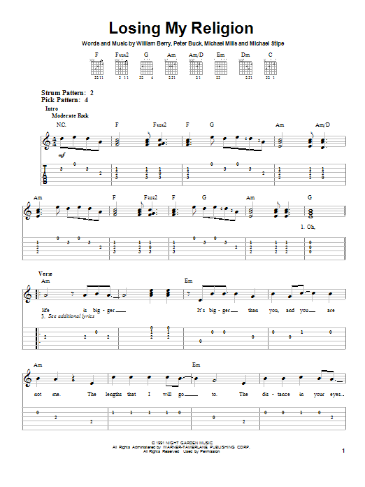 Losing My Religion sheet music for guitar solo (easy tablature) by Peter Buck