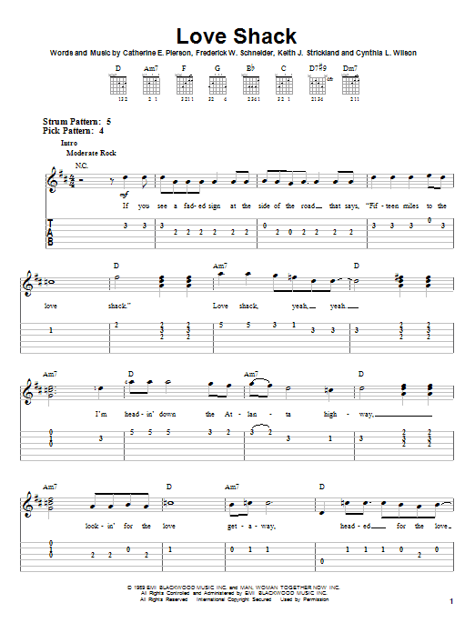 Tablature guitare Love Shack de The B-52's - Tablature guitare facile