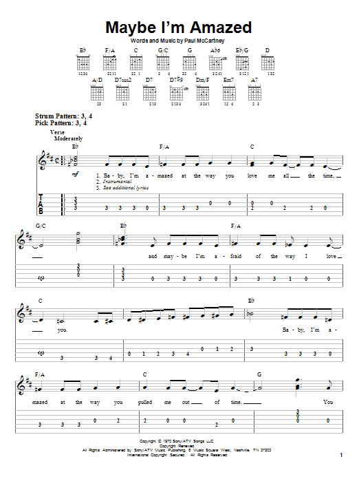 Tablature guitare Maybe I'm Amazed de Paul McCartney - Tablature guitare facile