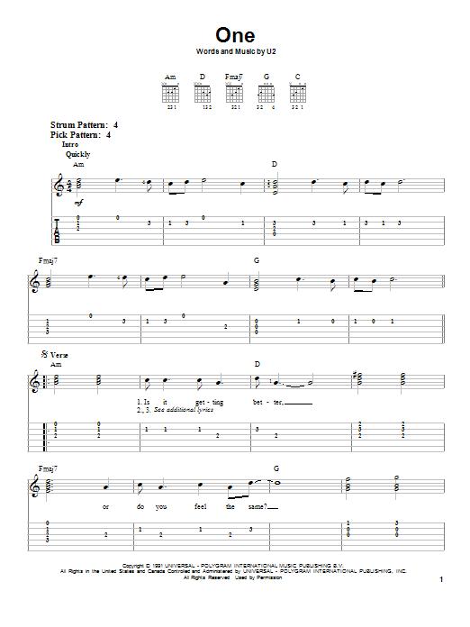 Tablature guitare One de U2 - Tablature guitare facile