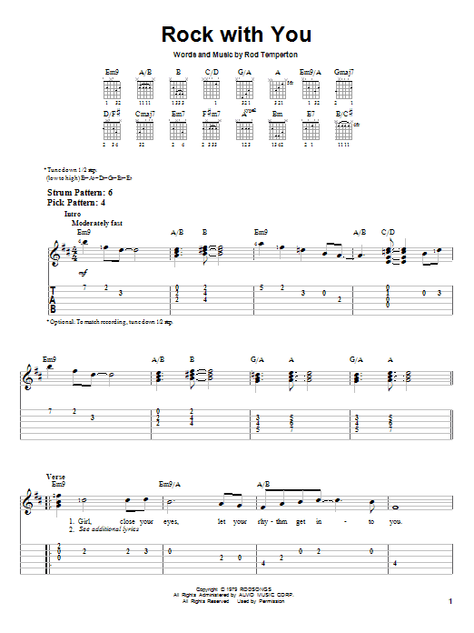 Tablature guitare Rock With You de Michael Jackson - Tablature guitare facile