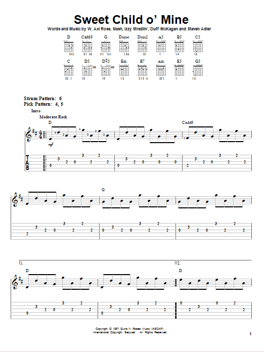 Tablature guitare Sweet Child O' Mine de Guns N' Roses - Tablature guitare facile