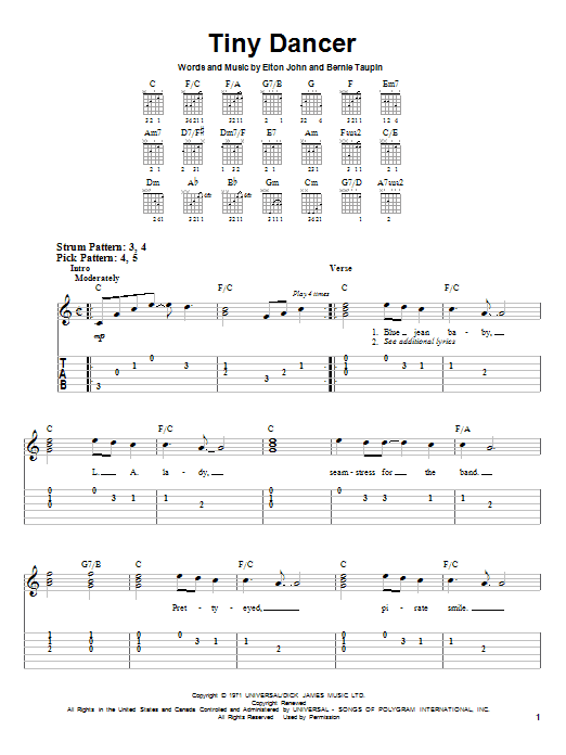 Tablature guitare Tiny Dancer de Elton John - Tablature guitare facile