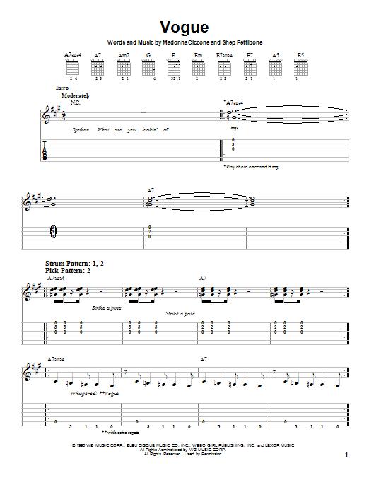 Tablature guitare Vogue de Madonna - Tablature guitare facile