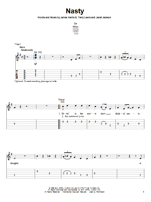 Tablature guitare Nasty de Janet Jackson - Tablature guitare facile