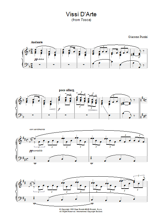 Vissi D'Arte (from Tosca) sheet music for piano solo by Luigi Illica