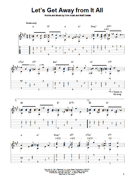 Tablature guitare Let's Get Away From It All de Frank Sinatra - Tablature Guitare