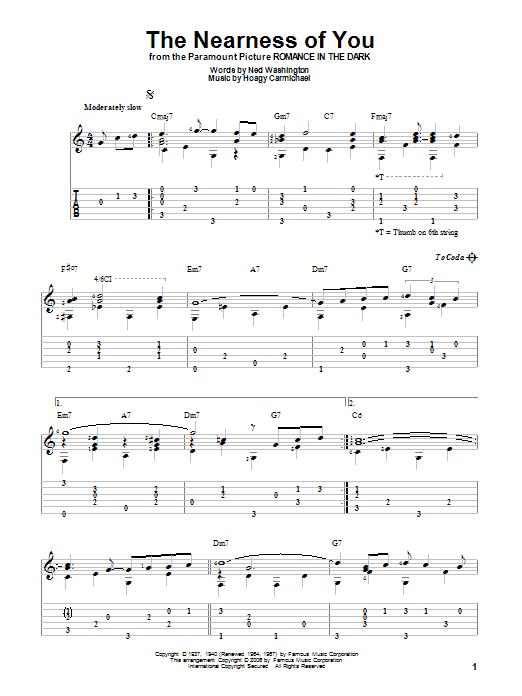 Tablature guitare The Nearness Of You de Hoagy Carmichael - Tablature Guitare