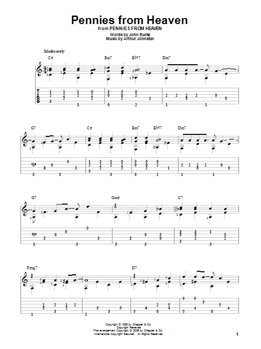 Tablature guitare Pennies From Heaven de Bing Crosby - Tablature Guitare
