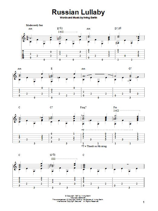 Tablature guitare Russian Lullaby de Irving Berlin - Tablature Guitare