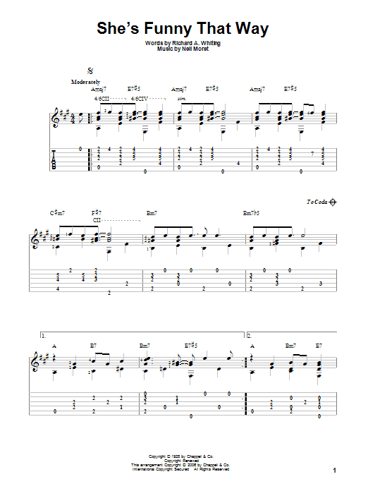 She's Funny That Way sheet music for guitar solo by Neil Moret