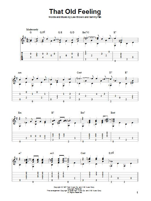 Tablature guitare That Old Feeling de Lew Brown - Tablature Guitare