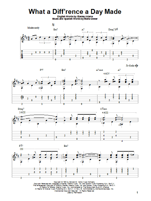 What A Diff'rence A Day Made sheet music for guitar solo by Maria Grever