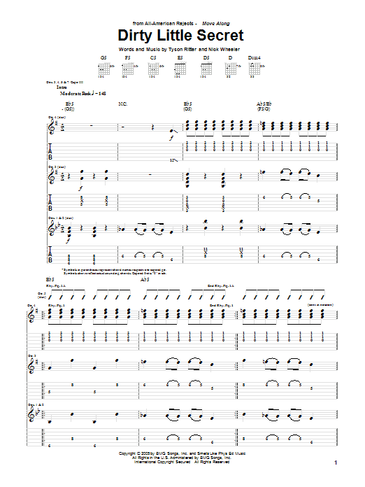 Tablature guitare Dirty Little Secret de The All-American Rejects - Tablature Guitare