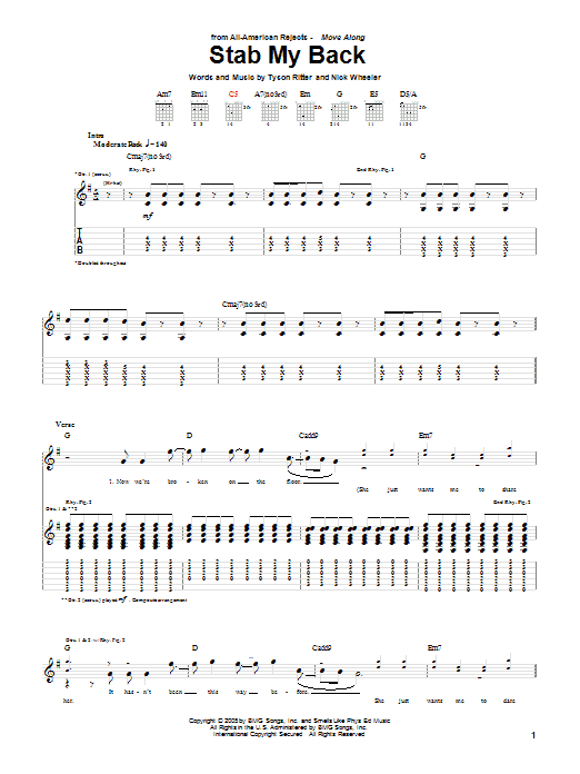 Tablature guitare Stab My Back de The All-American Rejects - Tablature Guitare